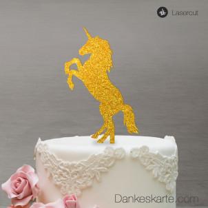Cake Topper Einhorn - Gold Glitzer