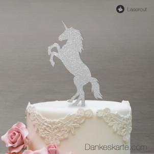 Cake Topper Einhorn - Silber Glitzer