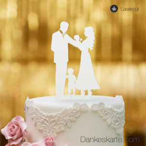 Cake Topper Familie Junge - Weiss - XL