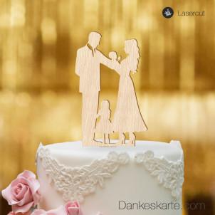 Cake Topper Familie Mädchen - Buchenholz - XL