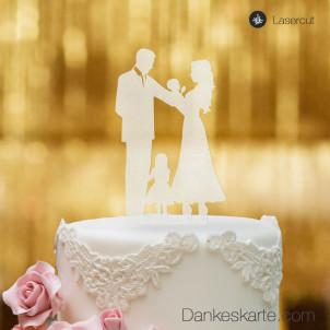 Cake Topper Familie Mädchen - Satiniert - XL