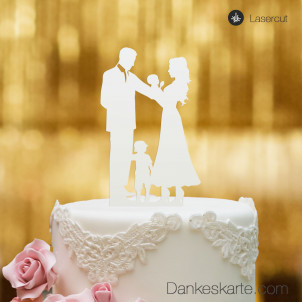 Cake Topper Familie - Weiss - XL