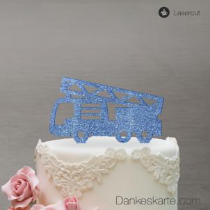 Cake Topper Feuerwehrauto - Blau Glitzer