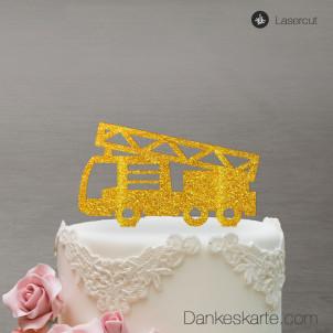 Cake Topper Feuerwehrauto - Gold Glitzer