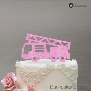 Cake Topper Feuerwehrauto - Rosa Glitzer