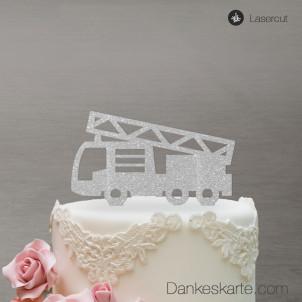 Cake Topper Feuerwehrauto - Silber Glitzer