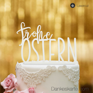 Cake Topper Frohe Ostern - Weiss - XL