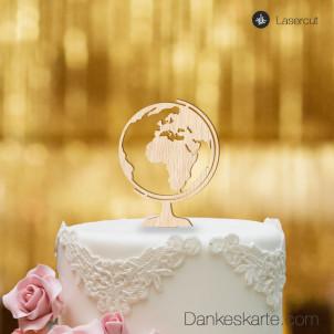 Cake Topper Globus - Buchenholz