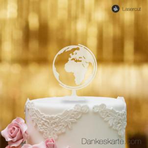 Cake Topper Globus - Satiniert