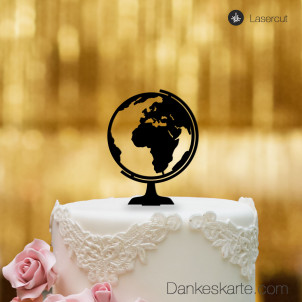 Cake Topper Globus - Schwarz