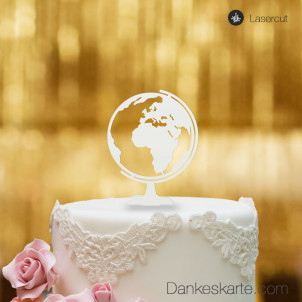 Cake Topper Globus - Weiss