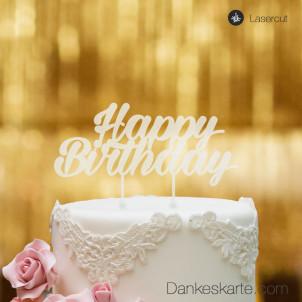 Cake Topper Happy Birthday 2 - Satiniert - XL