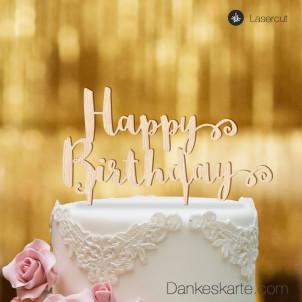 Cake Topper Happy Birthday - Buchenholz - XL