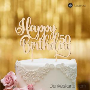 Cake Topper Happy Birthday Zahl personalisiert - Buchenholz - XL
