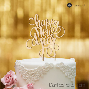 Cake Topper Happy New Year - Buchenholz - XL