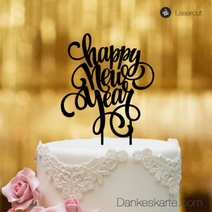 Cake Topper Happy New Year - Schwarz - XL