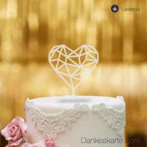 Cake Topper Herz Geometrie - Satiniert