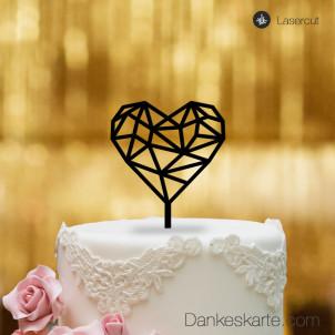 Cake Topper Herz Geometrie - Schwarz