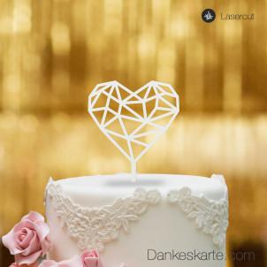 Cake Topper Herz Geometrie - Weiss