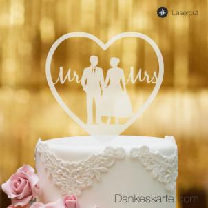 Cake Topper Herz mit Brautpaar und Mr&Mrs Schriftzug - Satiniert - XL