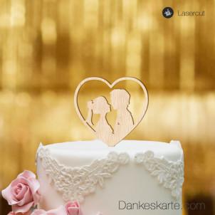 Cake Topper Herz mit Paar - Buchenholz - S