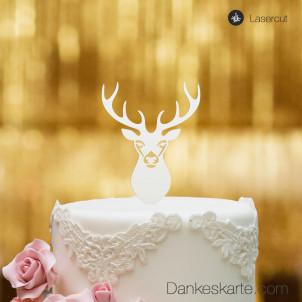 Cake Topper Hirsch - Weiss