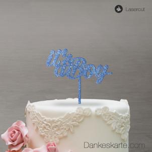 Cake Topper It's a Boy - Blau Glitzer - S