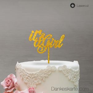 Cake Topper It's a Girl - Gold Glitzer - S