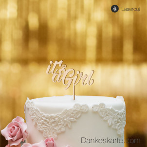 Cake Topper It's a Girl - Buchenholz - S