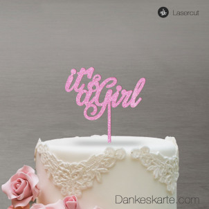 Cake Topper It's a Girl - Rosa Glitzer - S