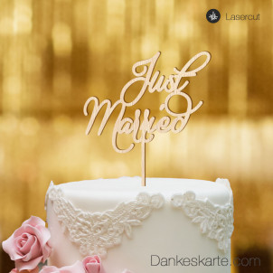 Cake Topper Just Married - Buchenholz - XL