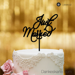 Cake Topper Just Married - Schwarz - XL