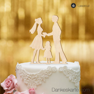 Cake Topper Kleine Familie Mädchen - Buchenholz - XL