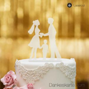 Cake Topper Kleine Familie Junge - Satiniert - XL