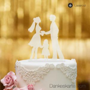 Cake Topper Kleine Familie Mädchen - Satiniert - XL