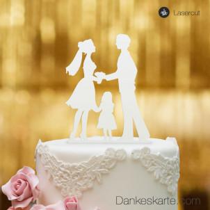 Cake Topper Kleine Familie Mädchen - Weiss - XL