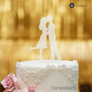 Cake Topper Kuss - Satiniert - XL