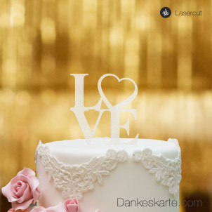 Cake Topper Love Heart - Satiniert - S