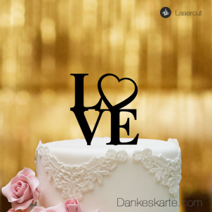 Cake Topper Love Heart - Schwarz - S