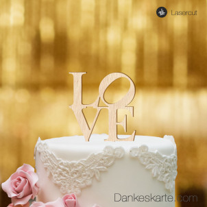 Cake Topper Love - Buchenholz - S