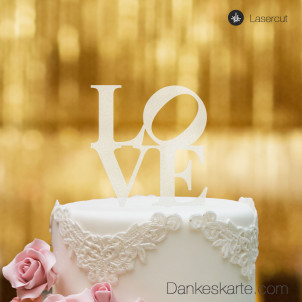 Cake Topper Love - Satiniert - XL