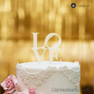 Cake Topper Love - Satiniert - S