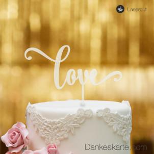 Cake Topper Love Schriftzug - Satiniert - XL
