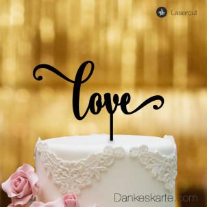 Cake Topper Love Schriftzug  - Schwarz - XL
