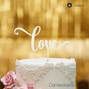 Cake Topper Love Schriftzug - Weiss - XL