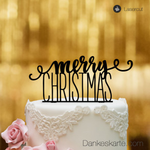 Cake Topper Merry Christmas 1 - Schwarz - XL