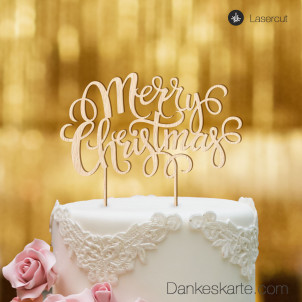 Cake Topper Merry Christmas 2 - Buchenholz - XL