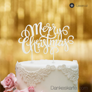 Cake Topper Merry Christmas 2 - Weiss - XL