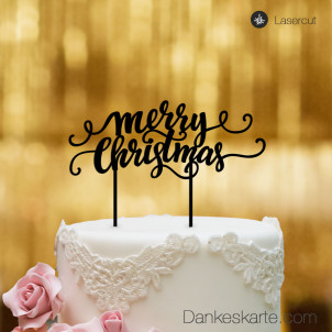 Cake Topper Merry Christmas 3 - Schwarz - XL