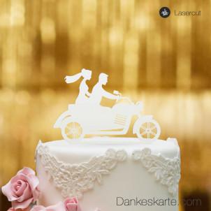 Cake Topper Motorrad - Weiss - XL